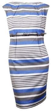 Calvin Klein Women's Striped Belted Sleeveless Sheath Dress