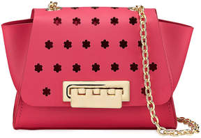 Zac Posen Eartha Floral-Peforated Chain Strap Leather Crossbody Bag, Fuchsia