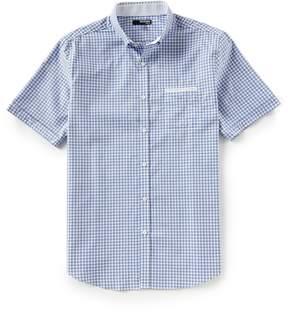 Murano Slim-Fit Jaspe Gingham Short-Sleeve Woven Shirt