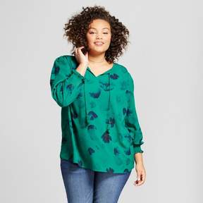 Ava & Viv Women's Plus Size Blouse with Smocking Detail Green Floral