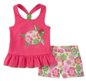 Kids Headquarters Little Girl's Two-Piece Turtle Top and Floral Shorts Set