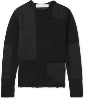 Isabel Benenato Shell-Paneled Cotton-Blend Sweater