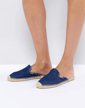 Soludos Denim Frayed Mules