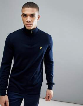 Lyle & Scott Golf Sands 1/4 Zip Merino Sweater In Navy