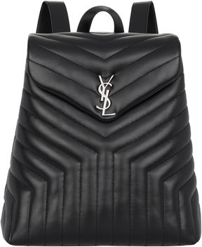 Saint Laurent Monogram Quilted Leather Backpack - BLACK - STYLE