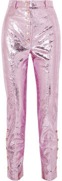 Hillier Bartley – Glam Metallic Crinkled Coated-faux Leather Straight-leg Pants – Pink
