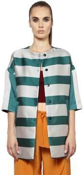 Annie P. Striped Techno & Silk Duchesse Coat