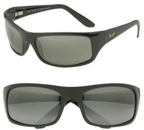 Maui Jim Men's 'Peahi - Polarizedplus2' 67Mm Sunglasses - Gloss Black / Neutral Grey