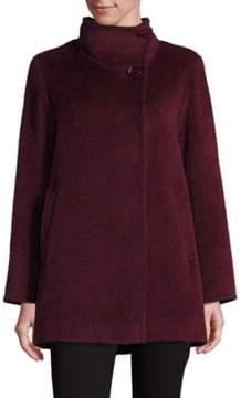 Cinzia Rocca Llama and Wool Funnelneck Coat