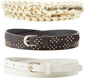 Charlotte Russe Plus Size Stamped, Studded and Braided Faux Leather Belts - 3 Pack