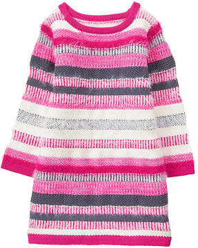 Gymboree Pink & Gray Stripe Sweater Dress - Infant & Toddler