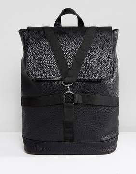 Asos Backpack In Black Faux Leather With Strap Detail