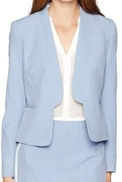 Nine West Womens Heathered Flange Collar Blazer