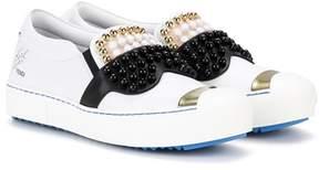 Fendi Embellished slip-on leather sneakers