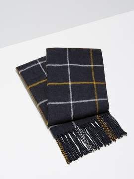 Frank and Oak Wool-Blend Windowpane Scarf in Dark Sapphire