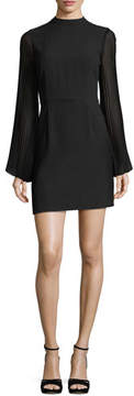 Cupcakes And Cashmere Yasmina Mock-Neck Pleated-Sleeve Sheath Crepe Dress