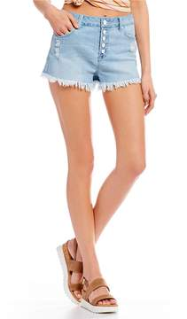 Celebrity Pink Exposed Button High Rise Super Fray Denim Shorts