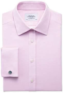 Charles Tyrwhitt Classic Fit Egyptian Cotton Diamond Texture Pink Dress Shirt Single Cuff Size 15.5/33