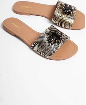 Express brocade slide sandals