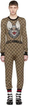 Gucci Brown Wool GG Supreme Jumpsuit
