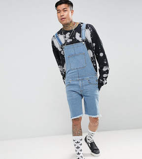 Jaded London Skinny Overalls In Mid Blue With Raw Hem