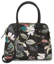 Kate Spade Floral-Print Leather Satchel - BLACK MULTI - STYLE