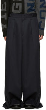 Juun.J Navy Wool Wide-Leg Trousers