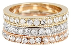 Ariella Collection Crystal Stack Rings - Set of 3