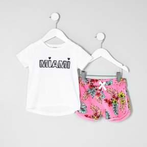 River Island Mini girls white 'Miami' T-shirt outfit