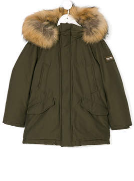 Woolrich Kids raccoon fur hooded coat