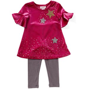 Flapdoodles Little Girls 2T-6X Star-Printed Velvet Shift Dress & Printed Leggings Set