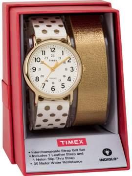 Timex Women's TWG015200 Weekender 38 Cream/Gold Dots Nylon Slip-Thru Strap Watch Gift Set + Metallic Gold-Tone Leather Strap
