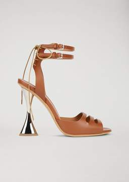 Emporio Armani Leather Sandals With Hourglass Heel