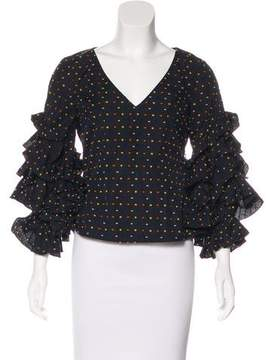 Caroline Constas Polka Dot Long Sleeve Top w/ Tags