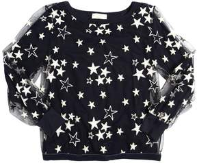 MonnaLisa Stars Embroidered Tulle & Jersey Top