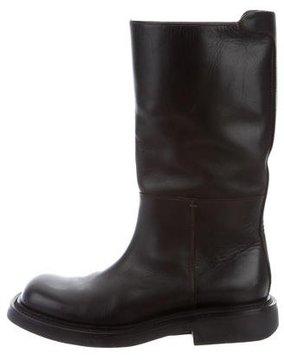 Prada Leather Square-Toe Boots