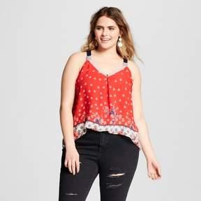 Xhilaration Women's Plus Size Mixed Media Tank Top Red