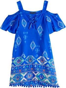 My Michelle Girls 7-16 Cold Shoulder Lace Up Shift Dress