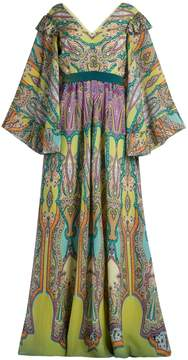 Etro V-neck paisley-print silk-crepe gown