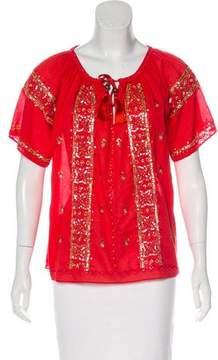 Calypso Embellished Short Sleeve Blouse