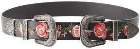 Charlotte Russe Embroidered Faux Leather Double Buckle Belt