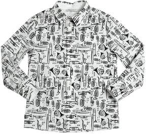 Dolce & Gabbana Instruments Printed Cotton Poplin Shirt