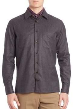 Luciano Barbera Flannel Cashmere & Cotton Shirt