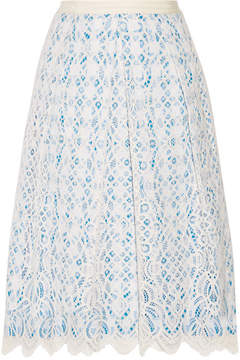 Draper James Lakeville Lace And Gingham Cotton-blend Skirt - White
