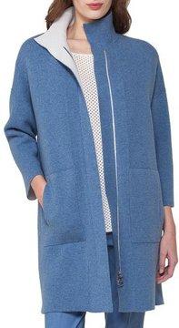 Akris Reversible Cashmere Front-Zip Swing Cardigan, Light Blue