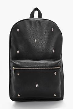 boohoo Black PU Backpack With Gold Skulls
