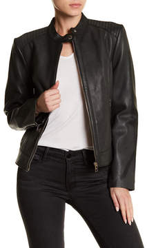 Cole Haan Lambskin Leather Front Zip Jacket