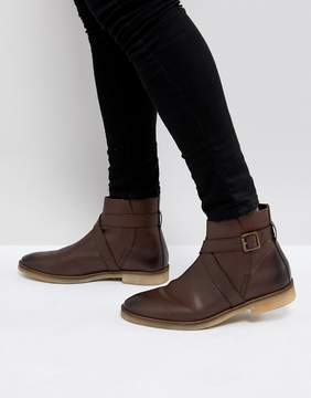 Asos Chelsea Boots In Brown Leather With Strap Detail And Natural Sole