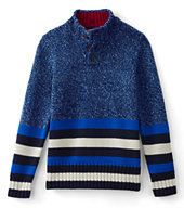 Lands' End Little Boys Placed Stripe Button Mock Neck Sweater-Regiment Navy/Green Camo