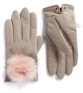 Ted Baker Women's Pomi Faux Fur Pompom Leather Gloves